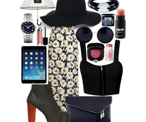 black clutch, round sunglasses, and ipad image