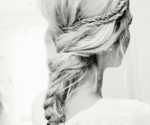 black &white, blonde, and braid image