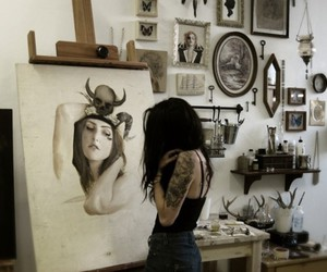art, painting, and tattoo image