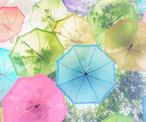 umbrella, colorful, and pastel image