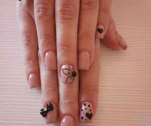 black nails, live, and love nails image