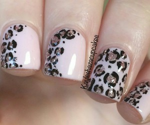 nails, leopard, and nailart image