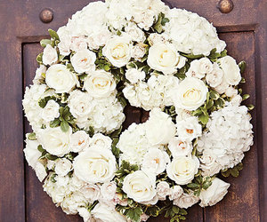 flowers, rose, and wreath image