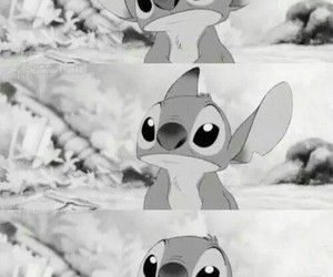 stitch, disney, and black and white image