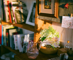 book, home, and flowers image