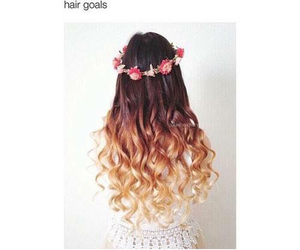 hair, curls, and flowers image