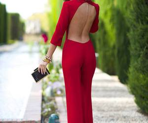 red, jumpsuit, and outfit image