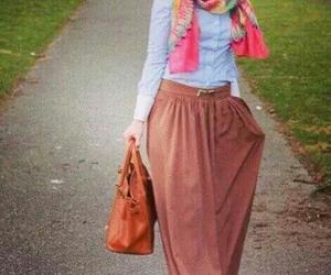 hijab, skirt, and stylish image