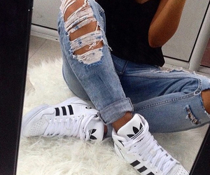 fashion, shoes, and rippedjeans image