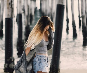 girl, outfit, and beach image