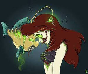 ariel, disney, and zombie image