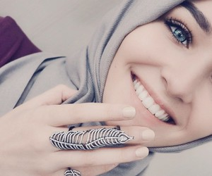 hijab, eyes, and smile image