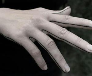 black and white, hands, and pale image