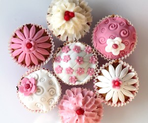 pink, cupcake, and white image
