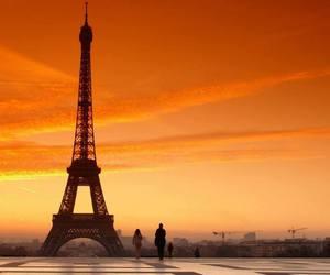 paris, city, and sunset image