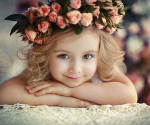 girl, flowers, and baby image