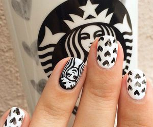 nails, starbucks, and white image