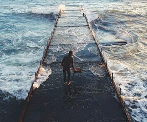 sea, man, and nature image