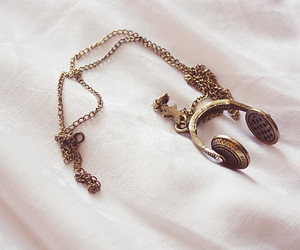 music, necklace, and headphones image
