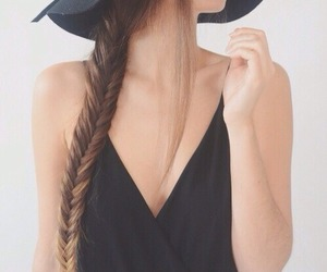 hair, braid, and black image