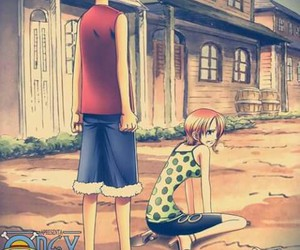 one piece, nami, and luffy image