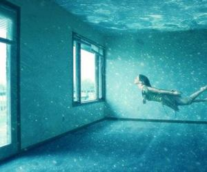 water, underwater, and blue image