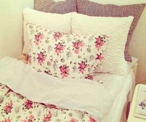 bed, room, and flowers image
