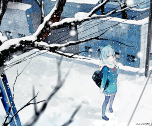 anime girl, snow, and winter image