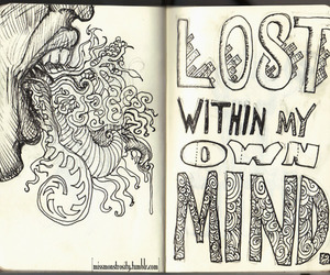 lost, mind, and drawing image