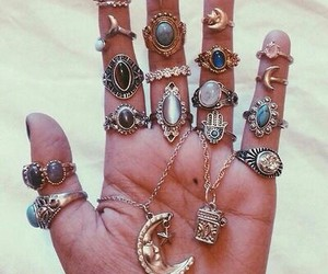 rings, moon, and hand image