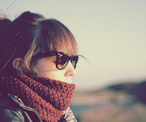 girl, glasses, and scarf image