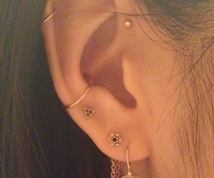 ear, earrings, and girl image