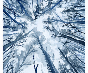 art, blue, and trees image