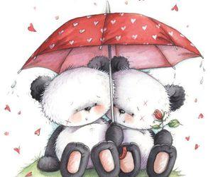 bear, hearts, and panda image
