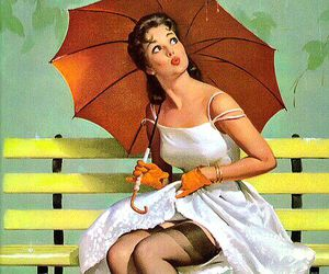vintage, Pin Up, and umbrella image