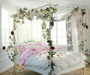 bedroom, pink, and flowers image