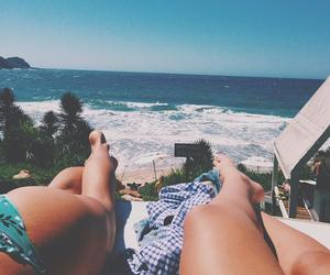beach, legs, and paradise image