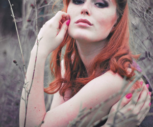black n white, photography, and red hair image