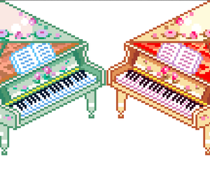 old, piano, and pixel image