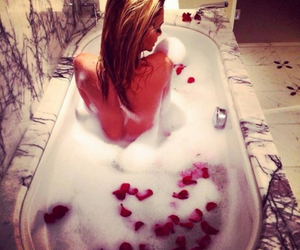 bath, girl, and rose image