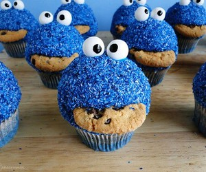 blue, cupcake, and food image