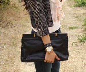 bag, brunette, and clutch image