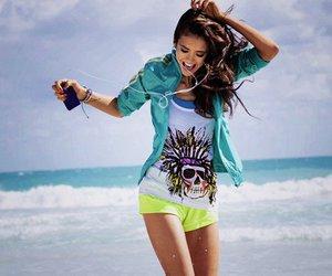 girl, Nina Dobrev, and beach image