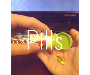 m&ms and pills image