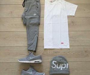 grey, nike, and white image
