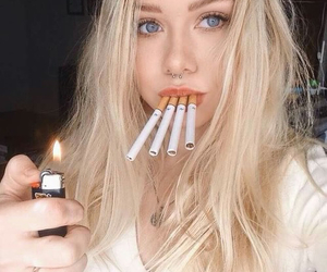 girl, smoke, and blonde image