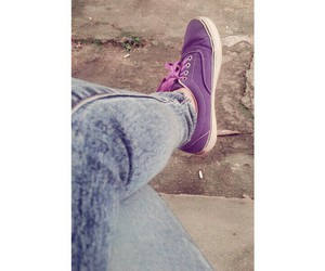 girl, jeans, and purple image