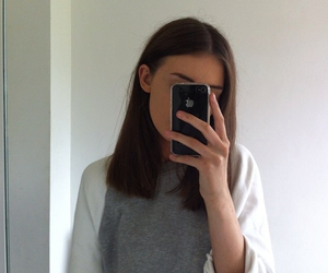 girl, iphone, and pale image