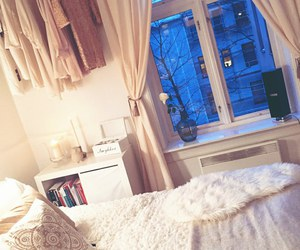 bed, lights, and winter image