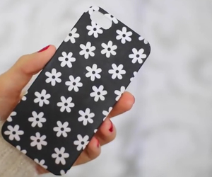 black, daisies, and white image